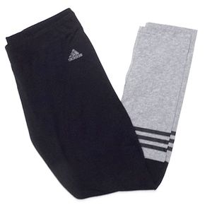 Adidas Black and Grey Running Tights, L